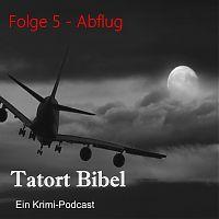 Titelbild Podcast. Flugzeug vor wolkigem Himmel mit Mond