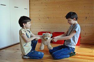 2 sich um einen Bären streitende Knaben