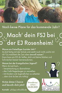 Flyer mit Stellenanzeige für FSJ
