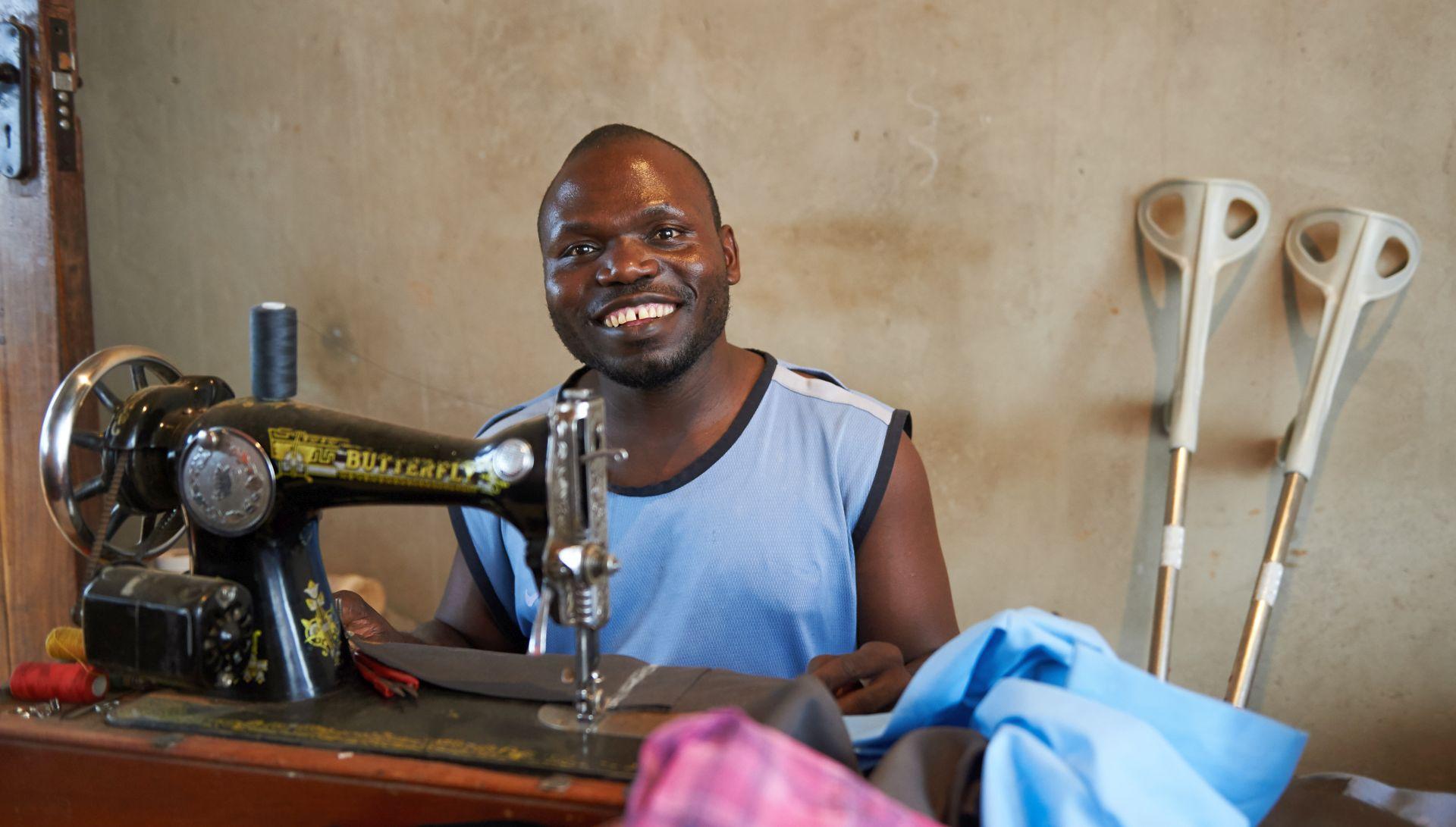 ein Näher in Sambia