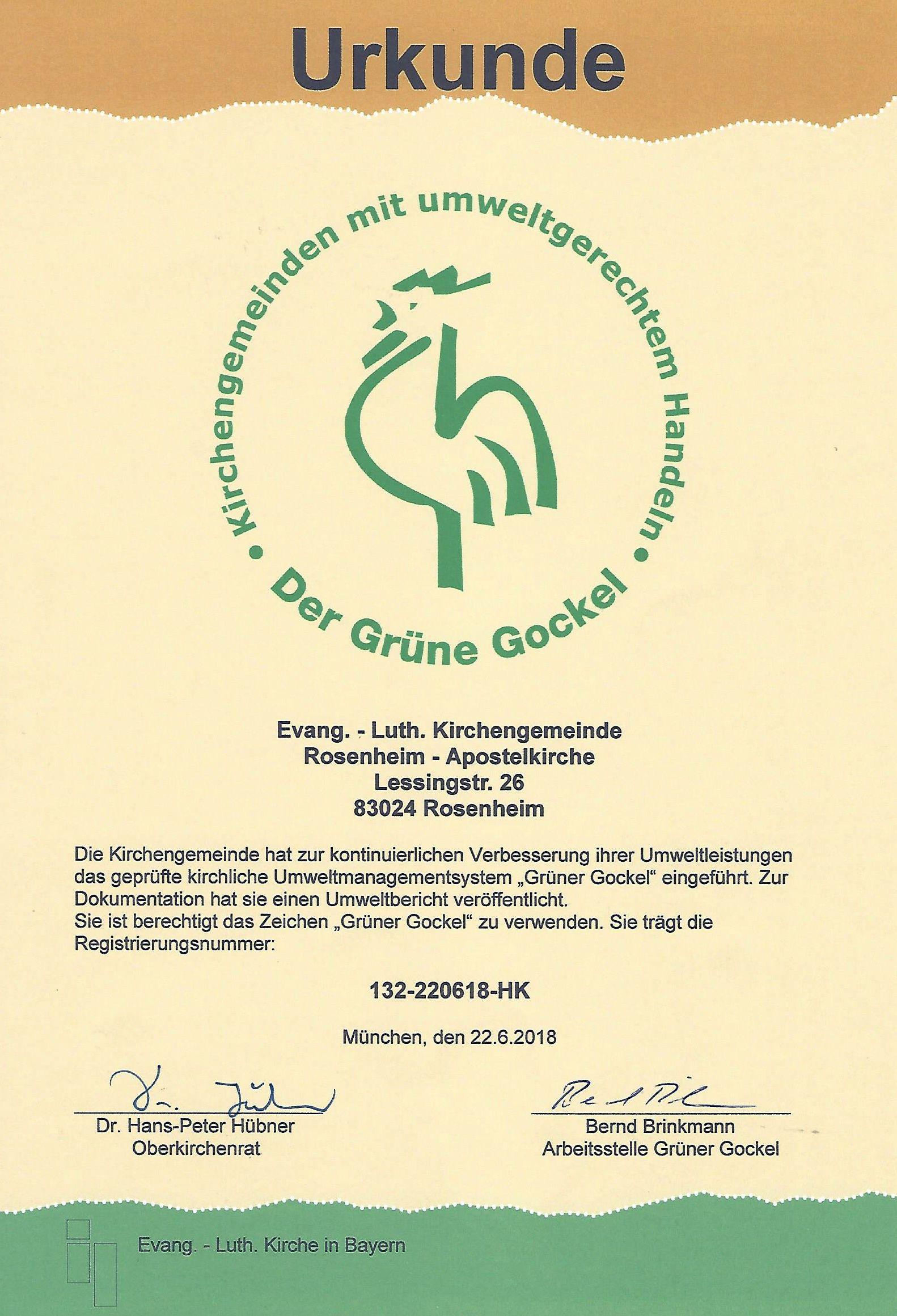 Urkunde Grüner Gockel für die Apostelkirche