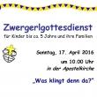 Plakat Zwergerl April 2016
