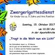 Plakat des Zwergerl Gottesdienstes im Oktober